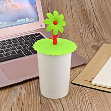 Hot Cute Sunflower Lace Dust Reusable Silicone Cover Cup DIY Free Splicing-Green