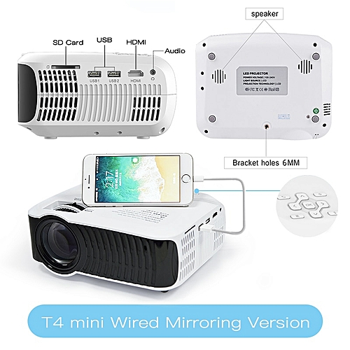TouYinger T4 mini LED projector full hd 2400lumen 720p LCD home micro video  theater protable beamer USB HDMI SD VGA 3d projector WOEDB