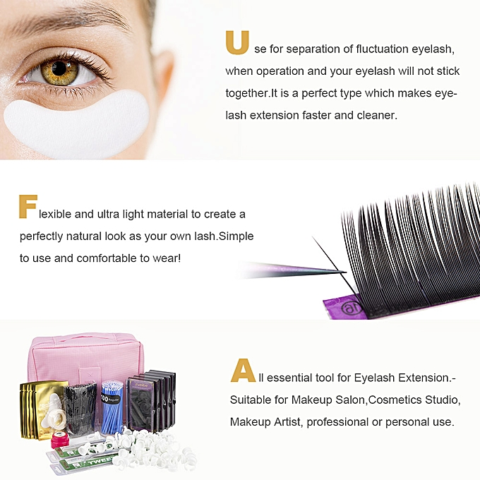 b65d56cdd82 ... Professional Training False Eyelashes Extension Set Grafting Eye Lashes  Practice Eye Pads Tweezers Glue Ring Brush ...