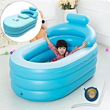Portable Adult Child Bath Tub PVC Portable Spa Warm Bathtub Inflatable Air Pump Blue