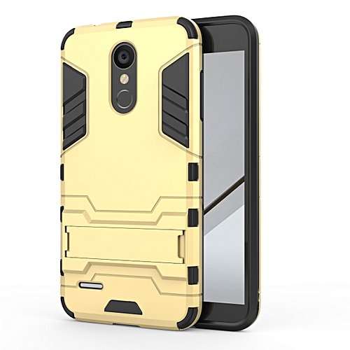 official photos 36d5f df7e9 For LG K8 2018 Silicon Frame Hard Plastic Shockproof Phone Case With Holder  -Gold