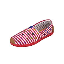 Red White Women's Canvas Slip ons