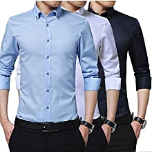 Shirts for Men - 3 pack Black White Blue  - Slim Fit Formal  Shirt Long Sleeve Official Button down 100% Cotton