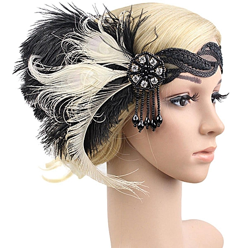 9f44360d5e3ef Generic 4 Pcs 1920s Feather Headband Bridal 20's Great Gatsby Flapper  Costume Dress Headpiece