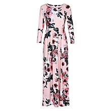 Women Floral Print Pocket Maxi Dress - Beige