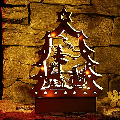 Generic LED Light Tabletop Christmas Wooden Church Decorations Gifts Xmas Plywood