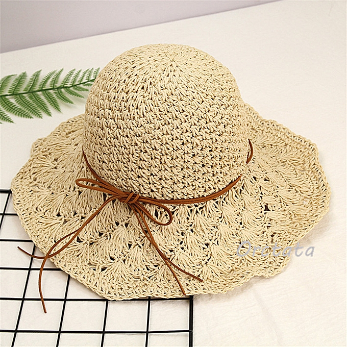 0b4edc627 Chic Straw Sun Hat for Women Fashion Handmade Foldable Roll Up Hat Fedora  Beach Wide Brim Visors Hat Womens Summer Caps(Beige-1)