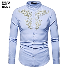 Fashion Men Shirt New Long Sleeve Brand Shirt Court Style Embroidered Henry Collars Casual Slim Fit Male Shirt - blue