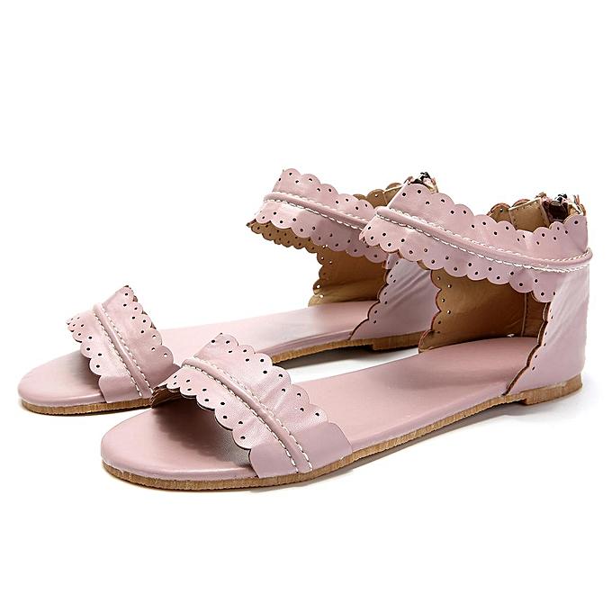 e9a29b3f4636c Fashion Women Roman Non-slip Thong Sandals Flat Heels Rome Flower Summer  Shoes