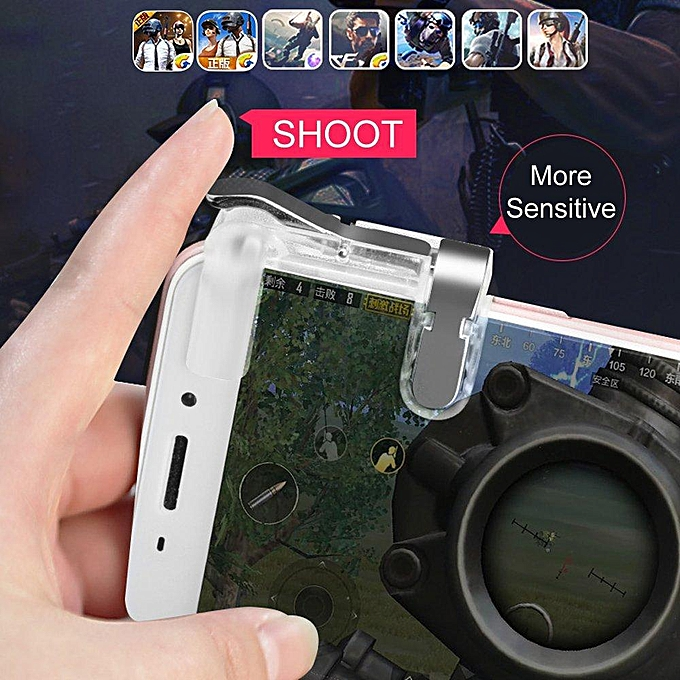 Metal Transparent Gaming Trigger L1R1 Mobile Phone PUBG Fire Button Shooter  Controller PLAYER