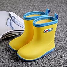 Waterproof Child Soild Rubber Infant Baby Rain Boots Kids Rain Shoes- Yellow
