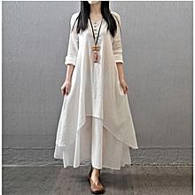 Women's Vintage Double Layer Long Fall Loose Big Swing Maxi Tunic Dress Top-White.,