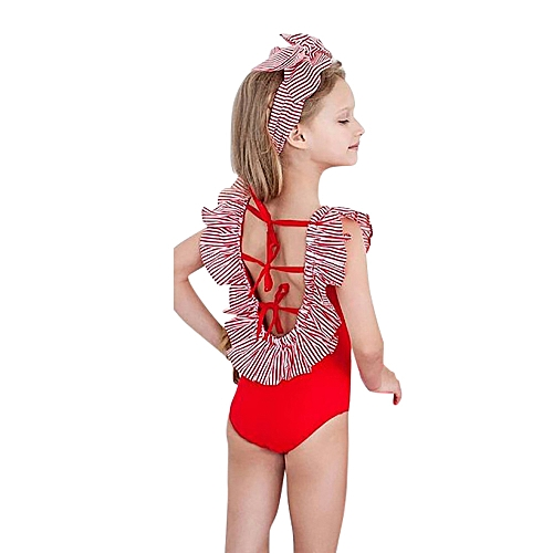 b306549992e73 Generic Infant Kids Baby Girls Striped Backless Swimsuits Swimwear Bathing  Suits