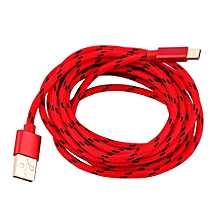 Type C Braided Data Sync Charging USB 3.1 Cable 3M Red