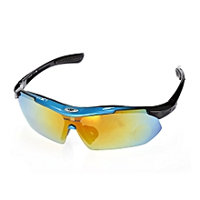10pcs Windproof Cycling Glasses With Polarized PC Lens - Lake Blue + Black