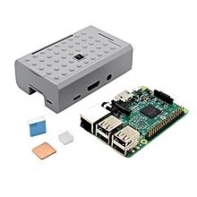 3 In 1 Raspberry Pi 3 Model B Board + Grey ABS Case Shell Housing + Aluminum Copper Heat Sink Kit