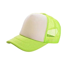 New Arrival Adjustable Child Solid Casual Hats For New Classic Trucker Summer Kids Baseball Golf Mesh Cap Sun Hats(Green&White)