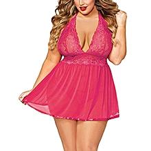 Generic Women Sexy Lingerie Plus Size  Open Back Lingerie Lace Babydoll Sleepwear  A1