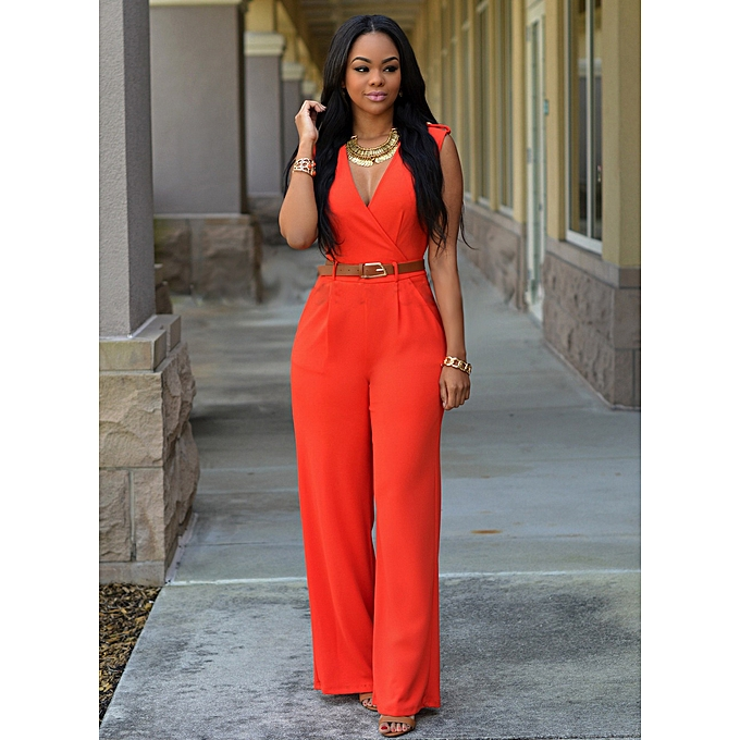 72dd03a41ac beautiful Women Solid Color Slim Fit Jumpsuit Elegant Solid Color Jumpsuit  With Belt-Orange