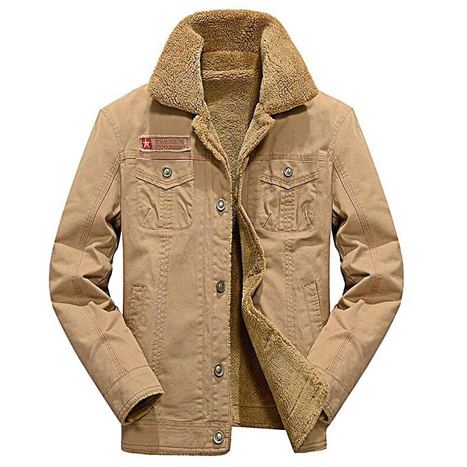 4e72bf6f1a675 Plus Size Men s Vintage Button Front Slim Fit Corduroy Fleece Jacket - LIGHT  KHAKI