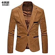 Men Suit Formal Skinny Wedding Blazer Prom - Khaki