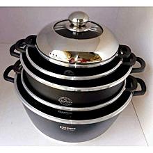 10 Pieces Non-Stick Cookware Set - Black.