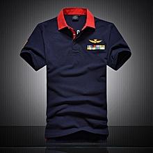 "New Cotton AERONAUTICA MILITARE Air Force One polo shirt Embroidery Aeronautica "" Military"" Men Military polo shirt-blue"