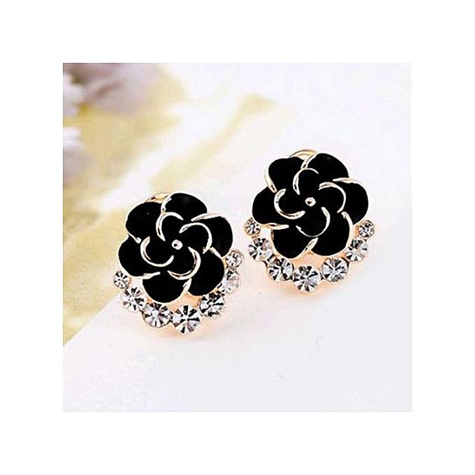 04db0cd80 Women Peony Camellia Flower Rhinestones Alloy Ear Stud Earrings Party  Jewelry