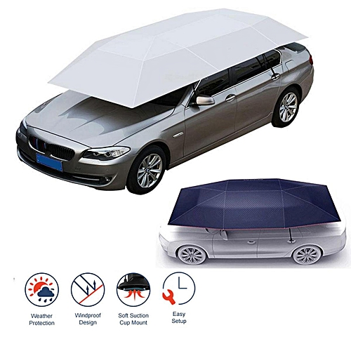 Portable Semi-automatic Outdoor Car Tent Umbrella Roof Cover UV Protection  Kits Cyan