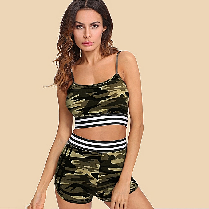 3e936b9b02cde Xingbiaocao Two Pieces Womens Vest Tank Top Camouflage Printed Sleeveless  Shirt Pants Sets -Camouflage