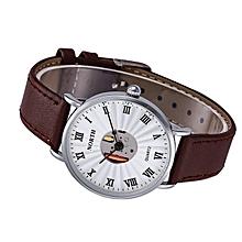 NORTH Africashop Watch  Leather Waterproof Hollow Quartz Analog Men's Quartz Watch Silver-Silver