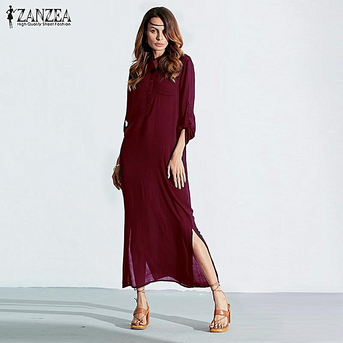 8f62c50782 ZANZEA Plus Size Fashion Long Sleeve Vestidos Spring Autumn Women Split  Sexy Casual Dress O Neck