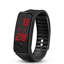 Creative LED Silicone Wristband Bracelet Fashion Fitness Sports Band Watch black