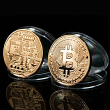 Gold Plated & Bronze Physical Bitcoins Bit Coin BTC Commemorative Gift w/ Case