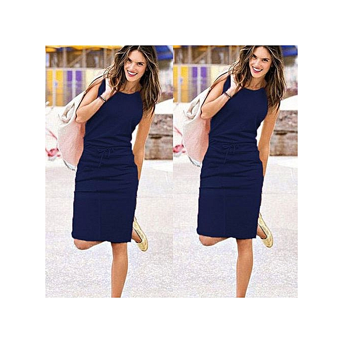 c6609c6b83 Hiaojbk Store Womens Holiday Sleeveless Sundress Ladies Summer Beach Casual  Party Dress-Navy