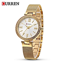 9011 Gold Quartz Women's Watch With White Simple Ultra-thin Dial