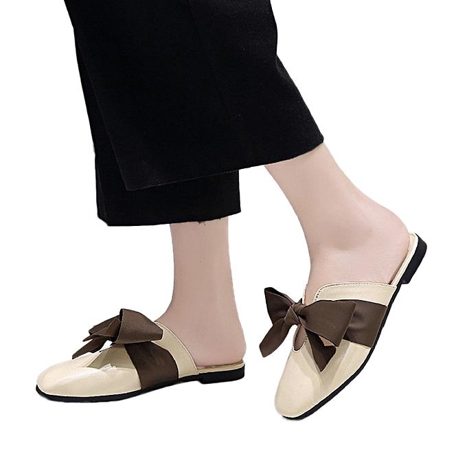 4f55e7fec9c0 Xiuxingzi Women s Vintage Bow Tie Soft Bottom Wild Lace-up Shallow Casual  Sandals Slipper