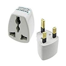 Travel three pin plug - White