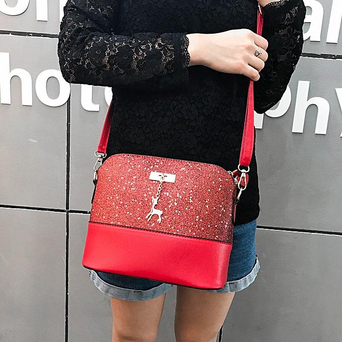 34d440147541 Xiuxingzi Womens Leather Crossbody Bag Sequins Small Deer Shoulder Bags  Messenger Bag ...