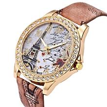 Blicool Wrist Watch Vintage Paris Eiffel Tower Women Fashion Watch Crystal Leather Quartz Wristwatch-brown