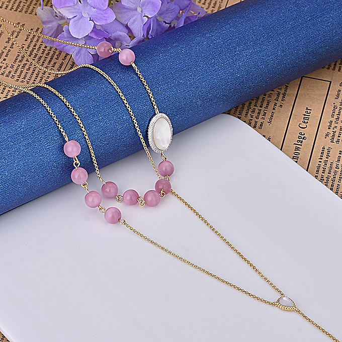 Necklace double layer powder crystal stone shell mother the
