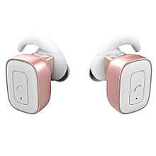 Wireless Earbuds, Bluetooth Mini Wireless Headphones Stereo In-ear Earpieces Hands-free Headset with Mic Siri - Rose Gold