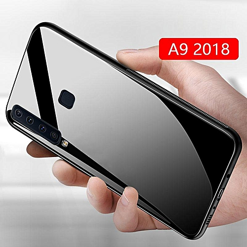 detailed look a5ef6 7ade8 Glass Case For Galaxy A9 2018 Cover Full Protection Tempered Glass Back  Cover Casing For Samsung Galaxy A9 2018 Glass Housing (A9 2018-Black)