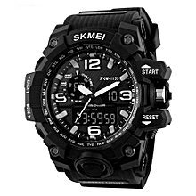 1155 Mens Large Size Waterproof Electronic Watches Fashion Multi-Functional Outdoor Sports Watch - Black