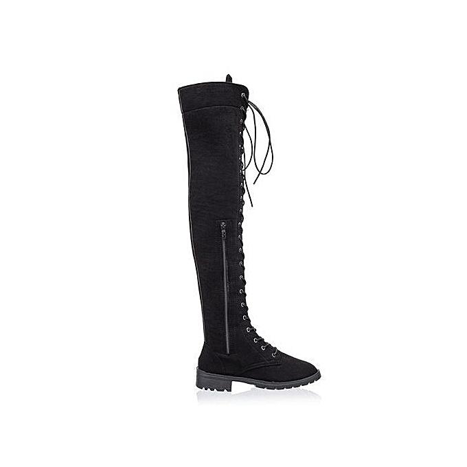 ed94c90571d0 bluerdream-Women Cross-tied Platform Shoes High Boots Over The Knee Boots  Flat Heel