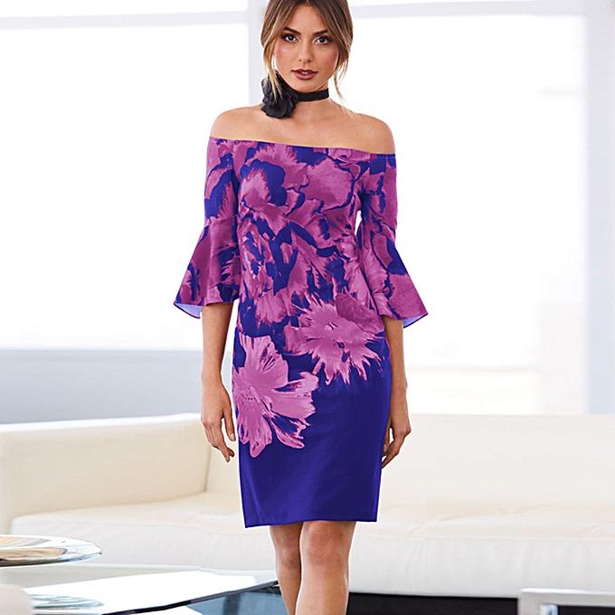 75e80fea7081 Hiaojbk Store Womens Long Sleeve Boho Off Shoulder Dress Lady Beach Summer  Sundrss Maxi Dress-