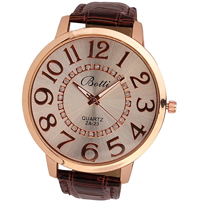 douajso Womens Fashion Numerals Golden Dial Leather Analog Quartz Watch BW