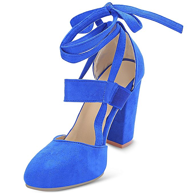 Fashion Pointed Toe Lace-up Chunky Heel Shoes Women Sandals - BLUE ...