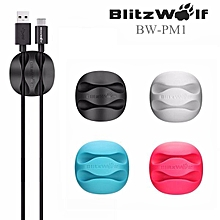 BlitzWolf? BW-PM1 6PCS TPU Multipurpose Cable Clip Cord Management System Desktop Cable Organizer Cable Holder