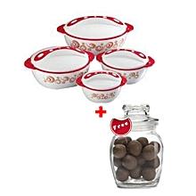 Set of 4 Pinnacle Pavonia Hot Pot Serving Bowls + FREE 200ml Glass Jar - Red